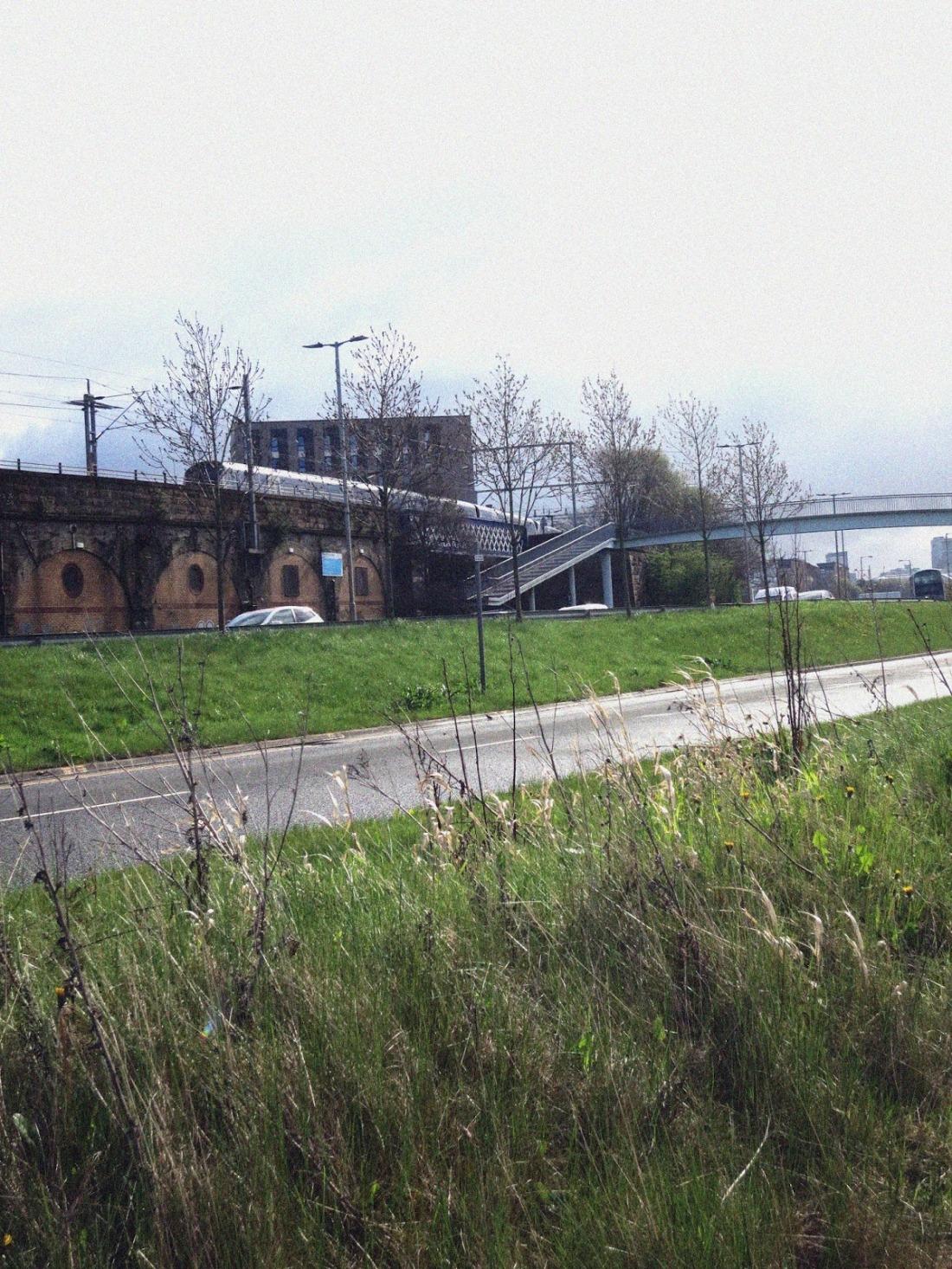 urban scene with railway