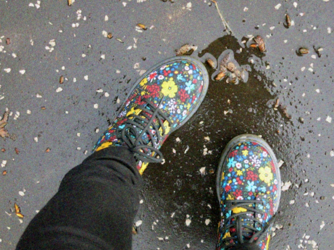 Dr Martens in a puddle