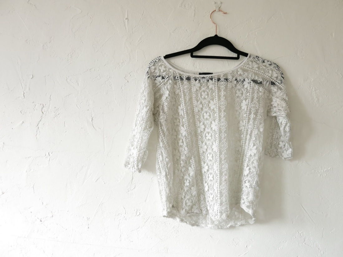 cream, lace blouse