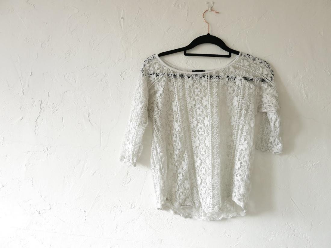 cream, lace blouse