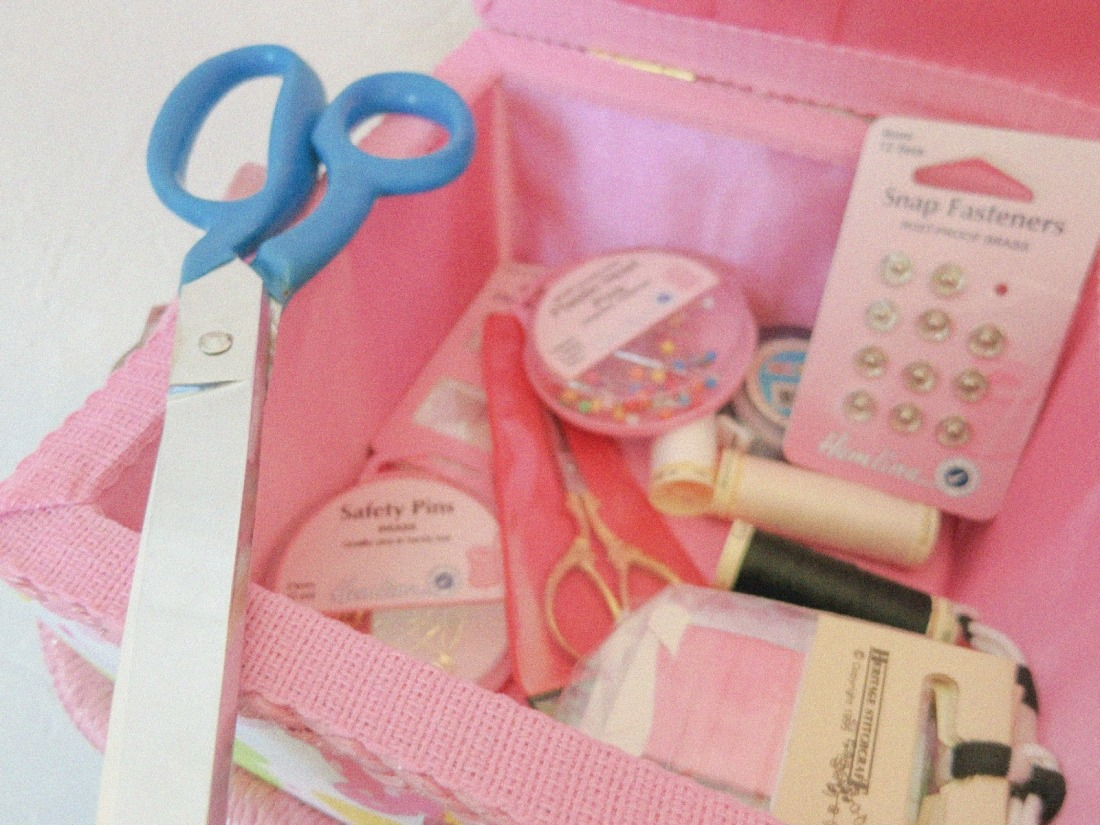 close up of all the bits and pieces in my sewing box at the moment