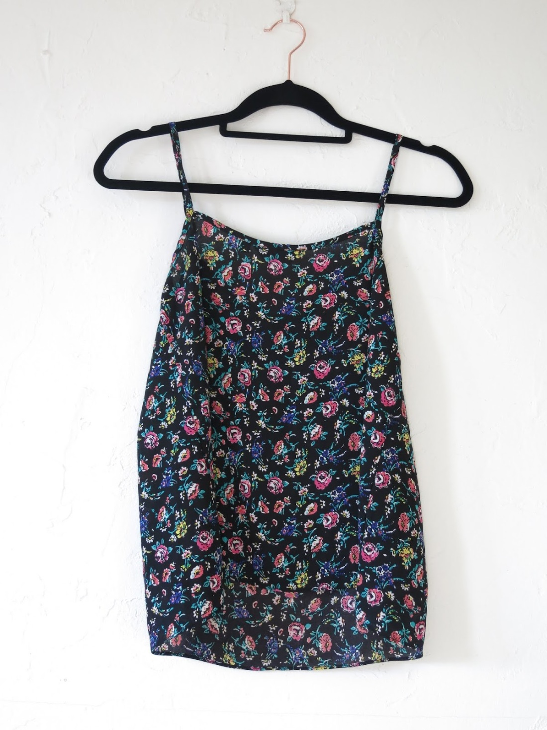 black, floral-printed camisole