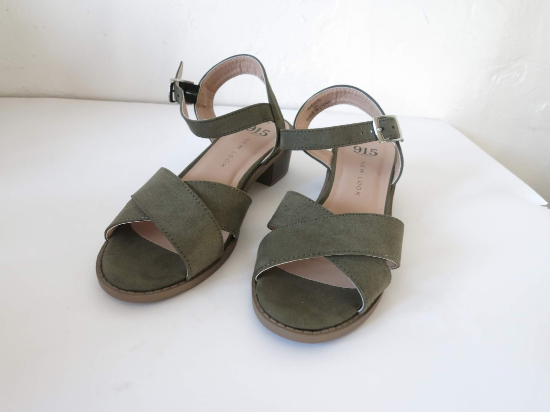 khaki faux-suede sandals