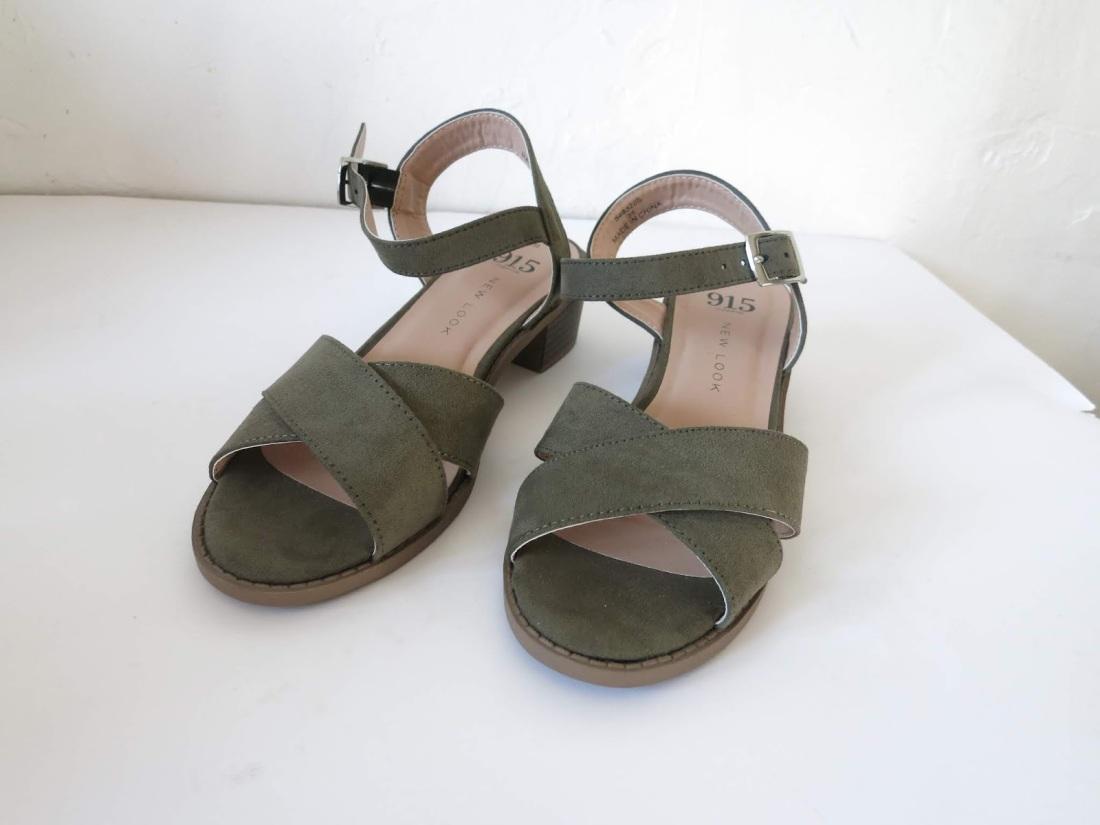 khaki faux-suede sandals