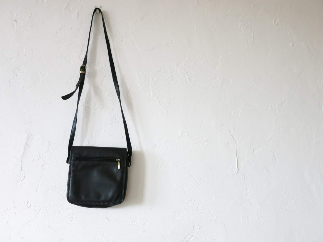 small, cross-body, black leather bag