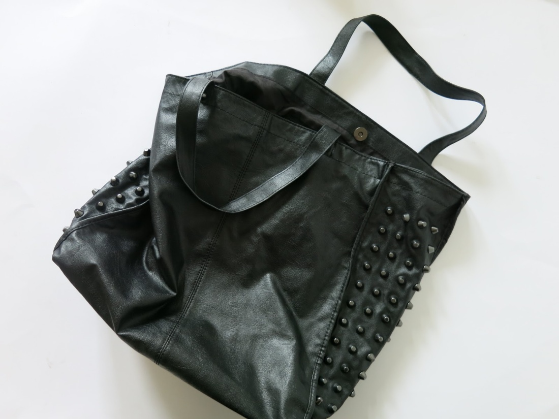 black faux leather studded bag