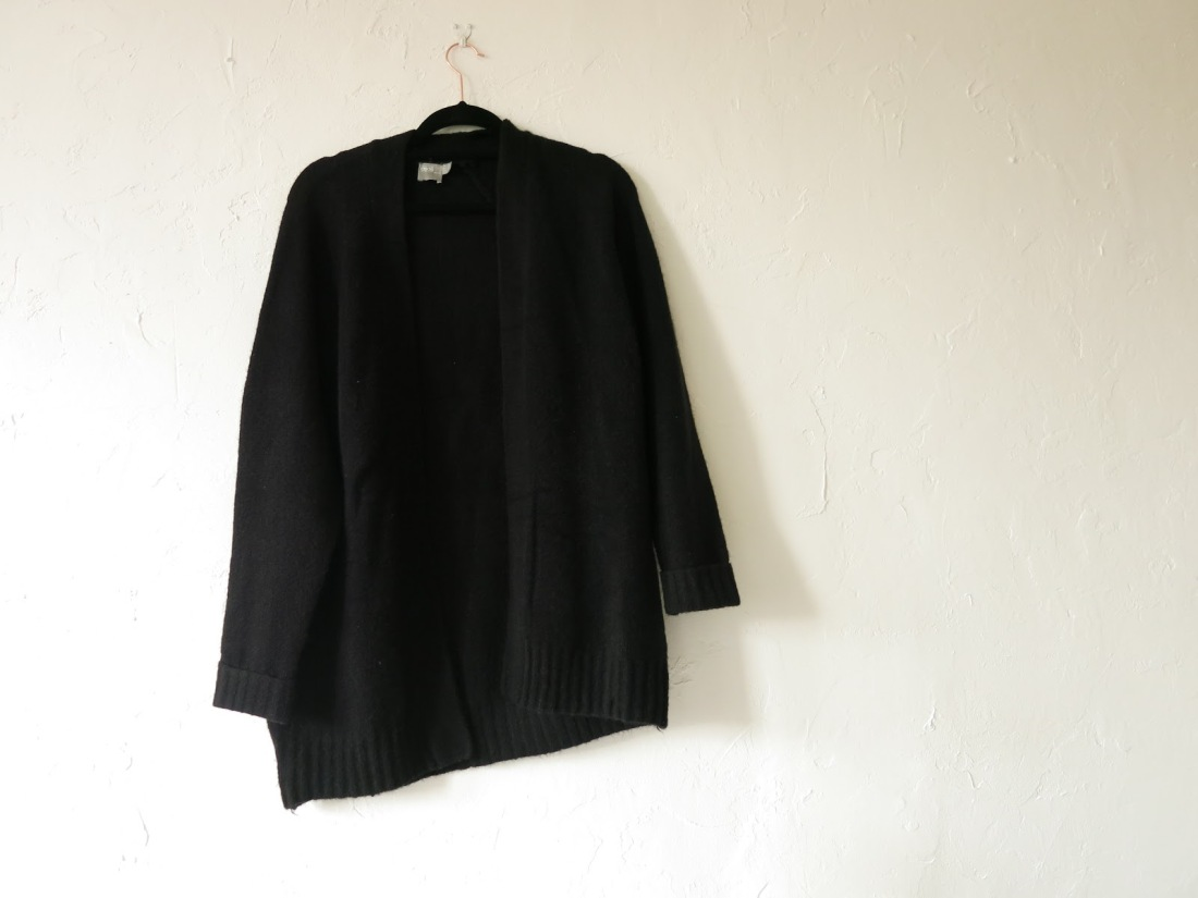 cosy black wool-mix cardigan