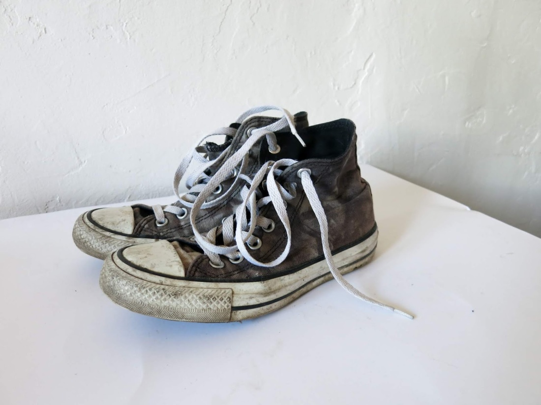grey, converse hi-tops, well worn