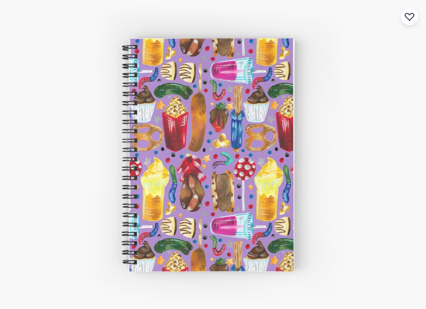 Screenshot_2019-07-01 'Florida Theme Park Snacks - Hand Painted on Purple' Spiral Notebook by TimorousEclectc
